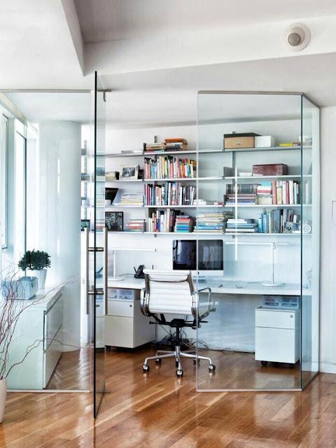Transparent glass interior wall