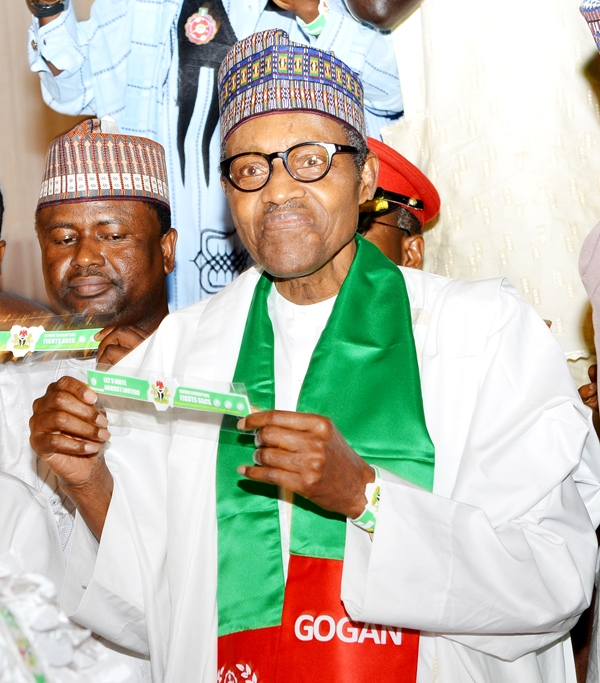 President Muhammadu Buhari begins reelection campaign today. The president presents the Good Governance Ambassadors of Nigeria (GOGAN) Unity Wrist Band during the Launch and Unveiling Buhari Unity Wrist Band at the Presidential Villa in Abuja on Thursday.