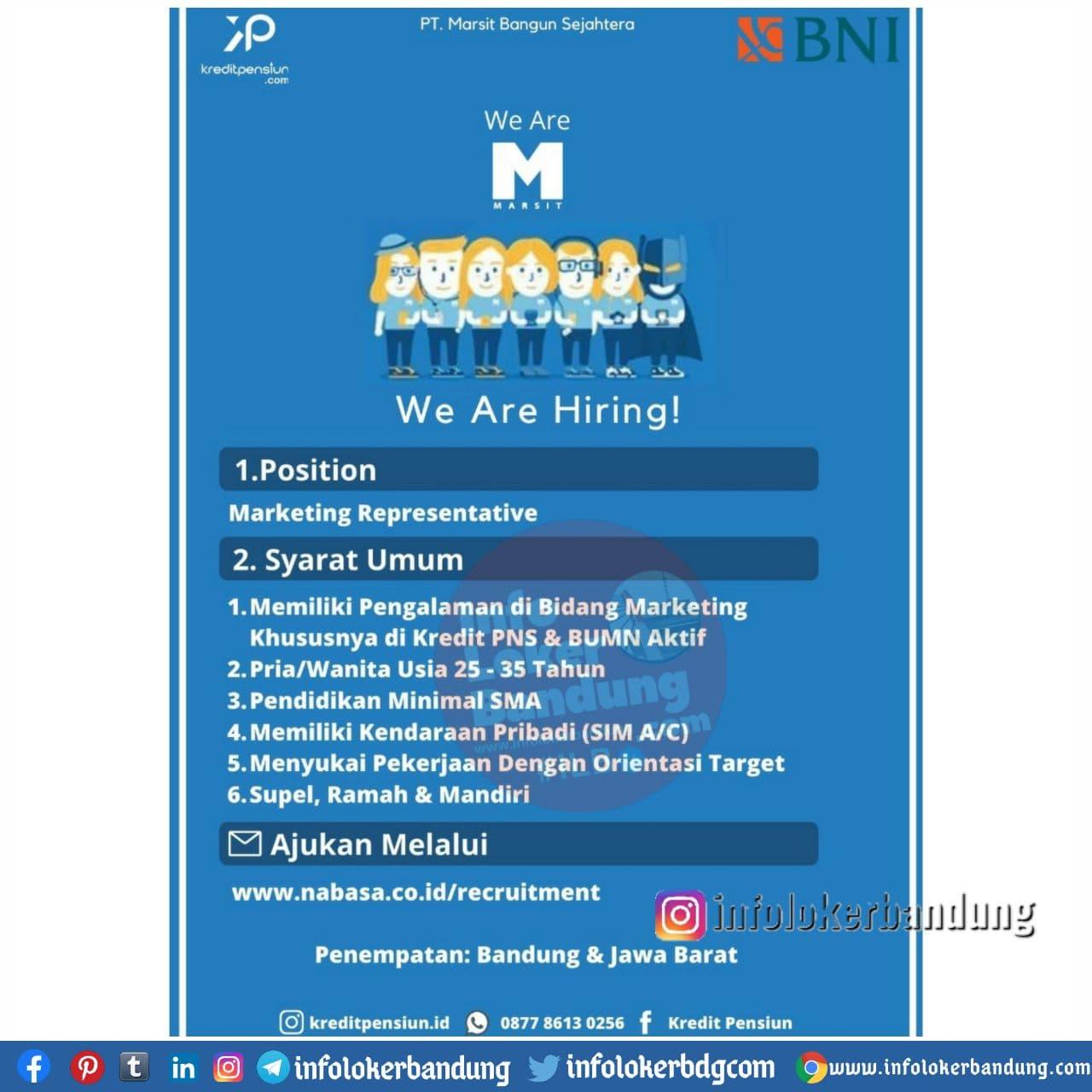 Lowongan Kerja PT. Marsit Bangun Sejahtera Bandung Desember 2020
