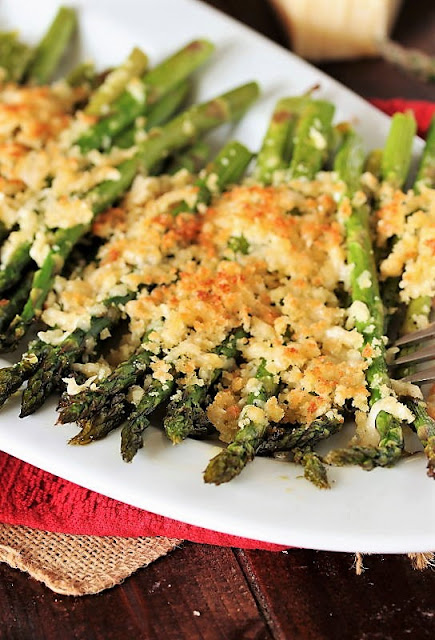 Platter of Roasted Asparagus with Crunchy Parmesan Topping Image