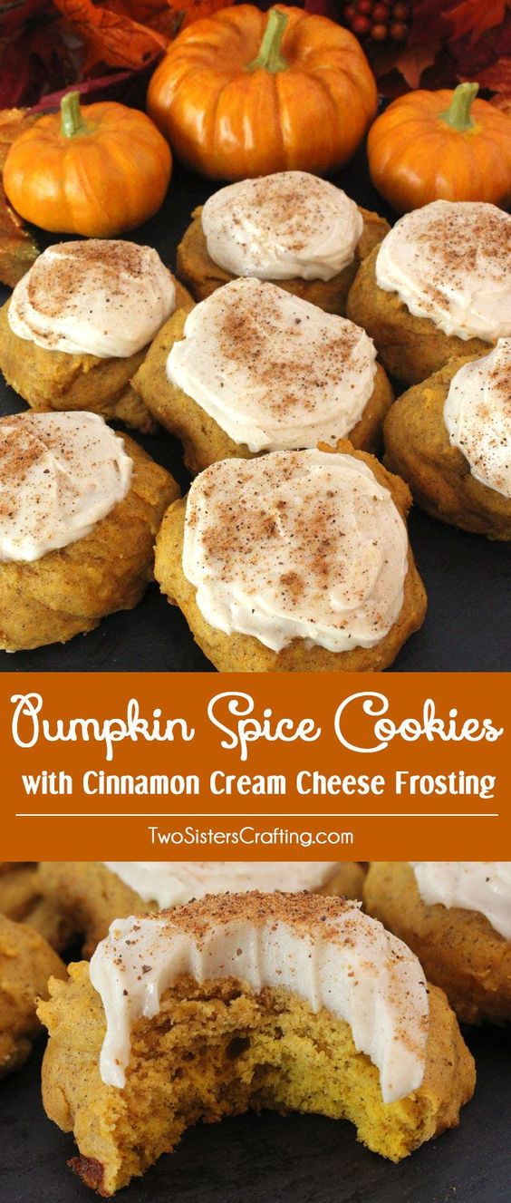 PUMPKIN SPICE COOKIES WITH CINNAMON CREAM CHEESE FROSTING #pumpkin #pumpkinspice #cookies #cookiesrecipes #cinnamon #ciinamoncream #cheese