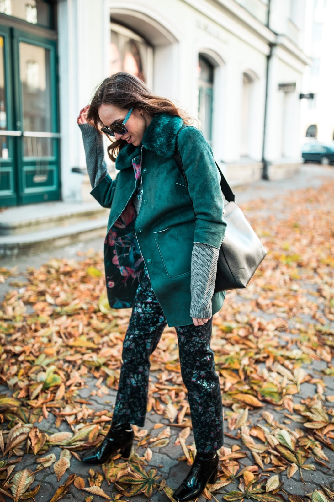 fall floral outfit trousers jacket max and co