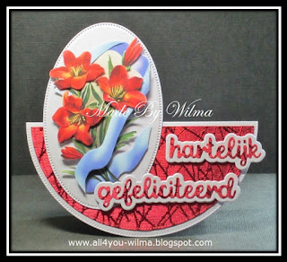 Wiebel- of schommelkaart met hartelijk gefeliciteerd met schaduw, Wobble card with happy birthday (dutch words) with shadow