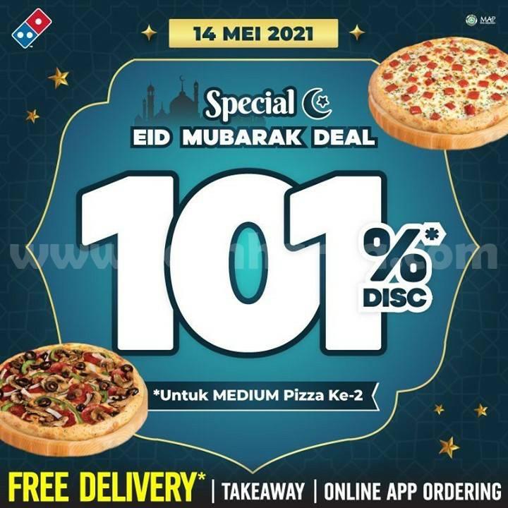 Promo DOMINOS PIZZA Spesial LEBARAN – DISKON 101% untuk pembelian Ke-2