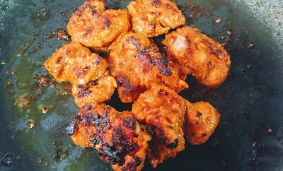 Roasting chicken pieces for chicken Tikka masala recipe