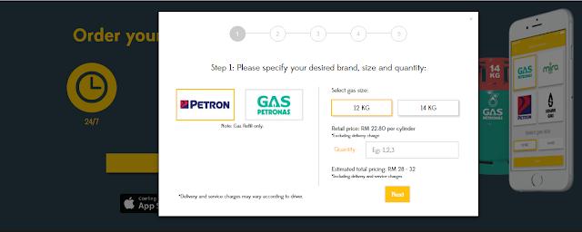 delivery gas memasak, penghantaran gas memasak, order gas memasak online