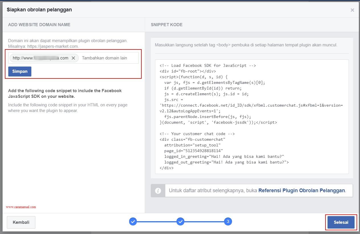 Menambahkan Nama Domain Website dan Kode Snippet