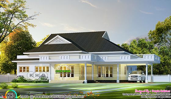 2668 sq-ft single floor bungalow sloping roof style