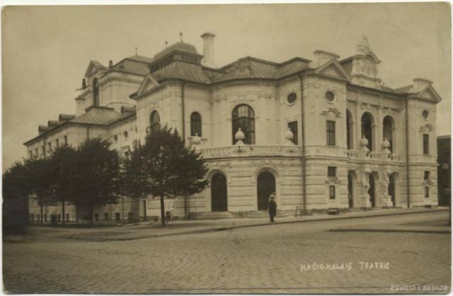 1920-е годы. Рига. Бульвар Пушкина (Кронвальда). Латвийский Национальный театр