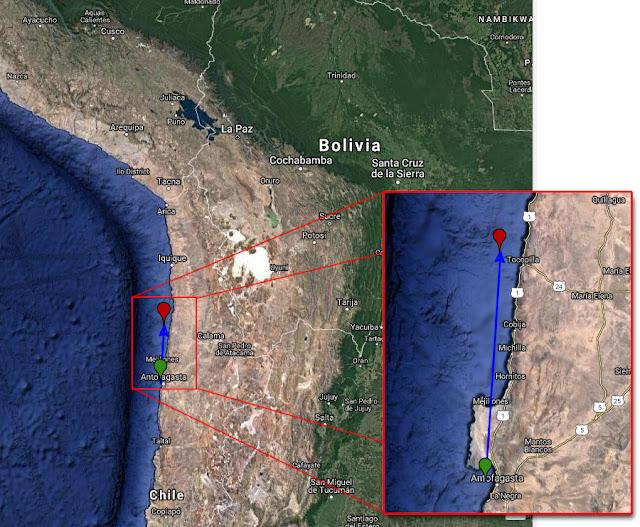 Meteoro bólido - Chile - 25 fevereiro 2018 - trajetória