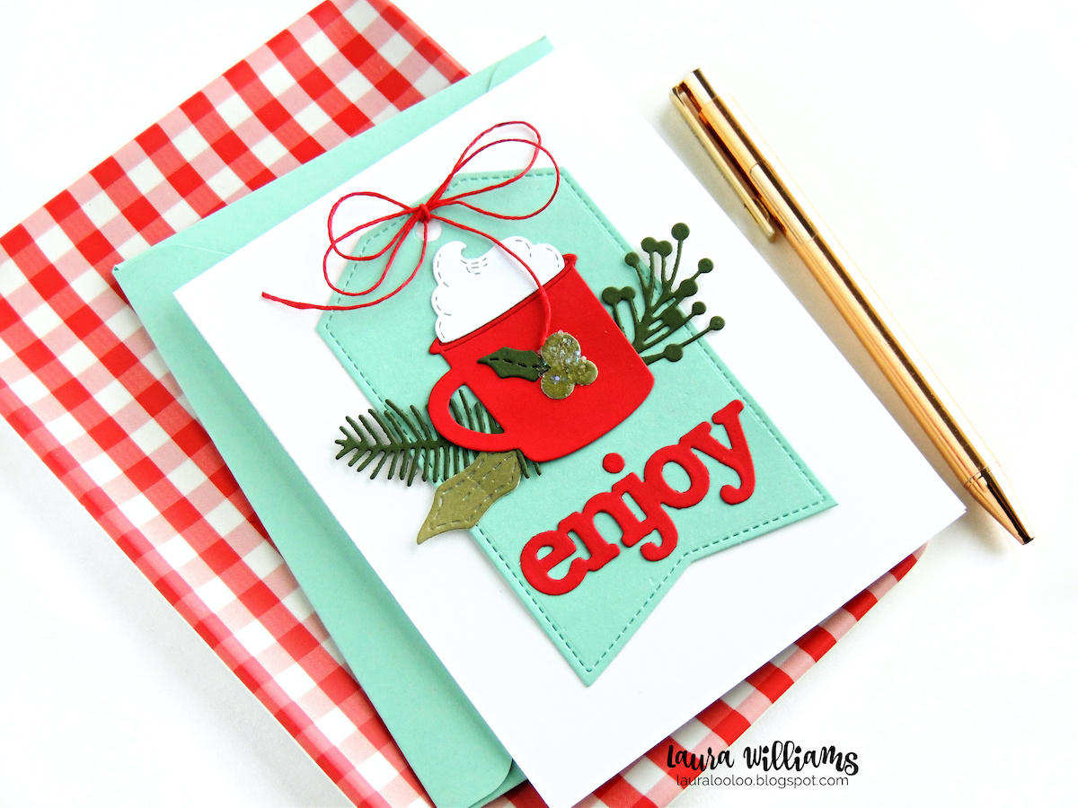 Make a die cut Christmas card with a warm cup of cocoa or coffee. Using dies from Impression Obsession, I'll share ideas for handmade holiday cardmaking with no stamps, just cardstock and embellishments. #diecutting #iostamps #cardmaking
