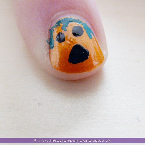 Pumpkin Jack O'Lantern Nail Art for Halloween at The Purple Pumpkin Blog
