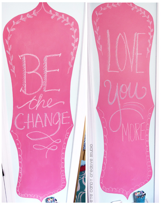messages on chalkbaord wall, love you more, be the change, pink chalkboard