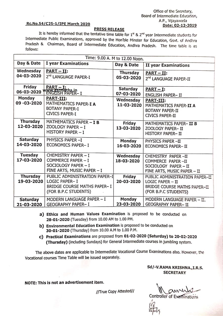 AP Inter 2020 time table