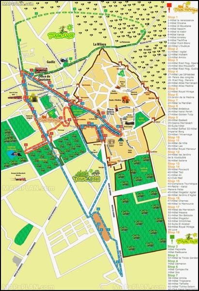 Plan des bus touristiques de Marrakech