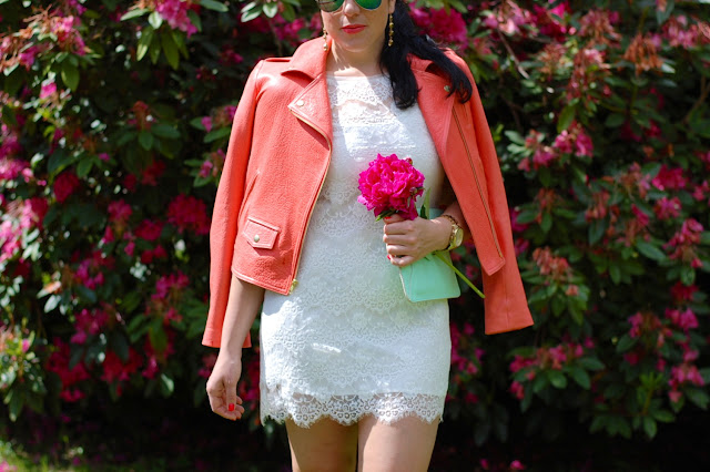 Theory Elanian jacket in melon, lace Forever 21 dress