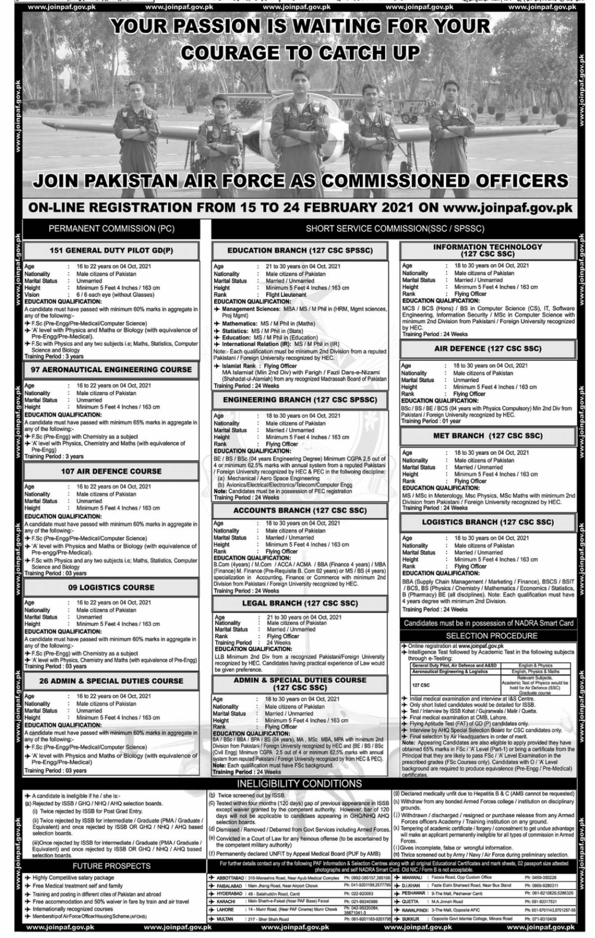 Air Force Jobs - Pak Air Force Jobs 2021 - AirForce Vacancies - Air Force New Jobs - Air Force Latest Jobs - Best Air Force Jobs - Air Force Officer Jobs - PAF Online Registration - www.joinpaf.gov.pk
