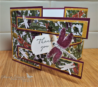 Rhapsody in craft, Rich Razzleberry, Fancy Fold Card, Gatefold card, Cross over gatefold card, Dandy Garden, Dragonfly Garden, Label Me fancy, Ladybug Trinkets, Thank you card, #colourcreationsshowcase, #loveitchopit, Stampin' Up, Jan-June Mini 2021