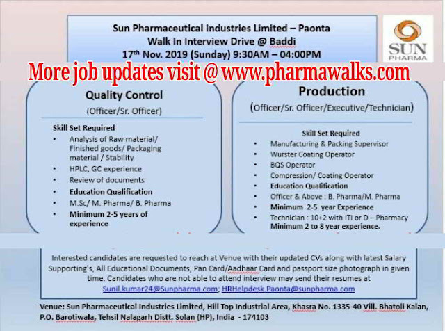 Walk-in interview for Production & QC on 17th November, 2019