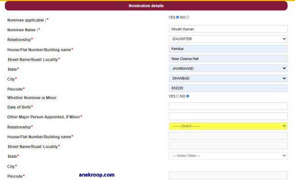 pnb nominee form
