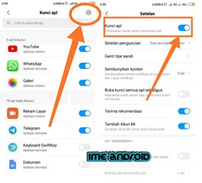 cara  mengganti kunci aplikasi Xiaomi