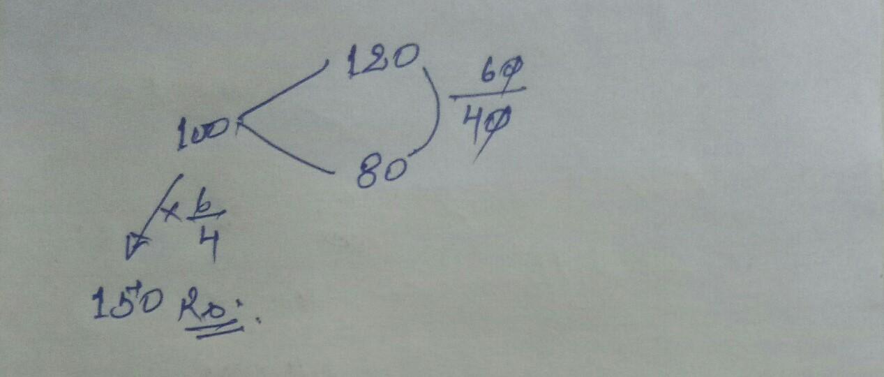 किसी वस्तु को 20% लाभ पर बेचने से उसे 20% हानि पर बेचने की तुलना में ₹60 अधिक प्राप्त होते हैं वस्तु का क्रय मूल्य कितना है?