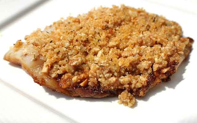 Halibut baked nut crusted