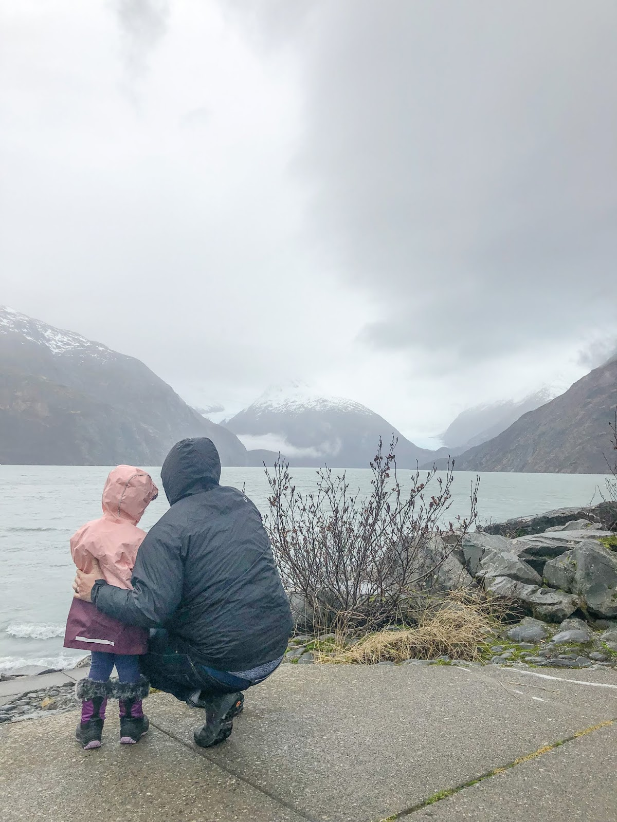 child visiting Portage Lake in Portage, Alaska