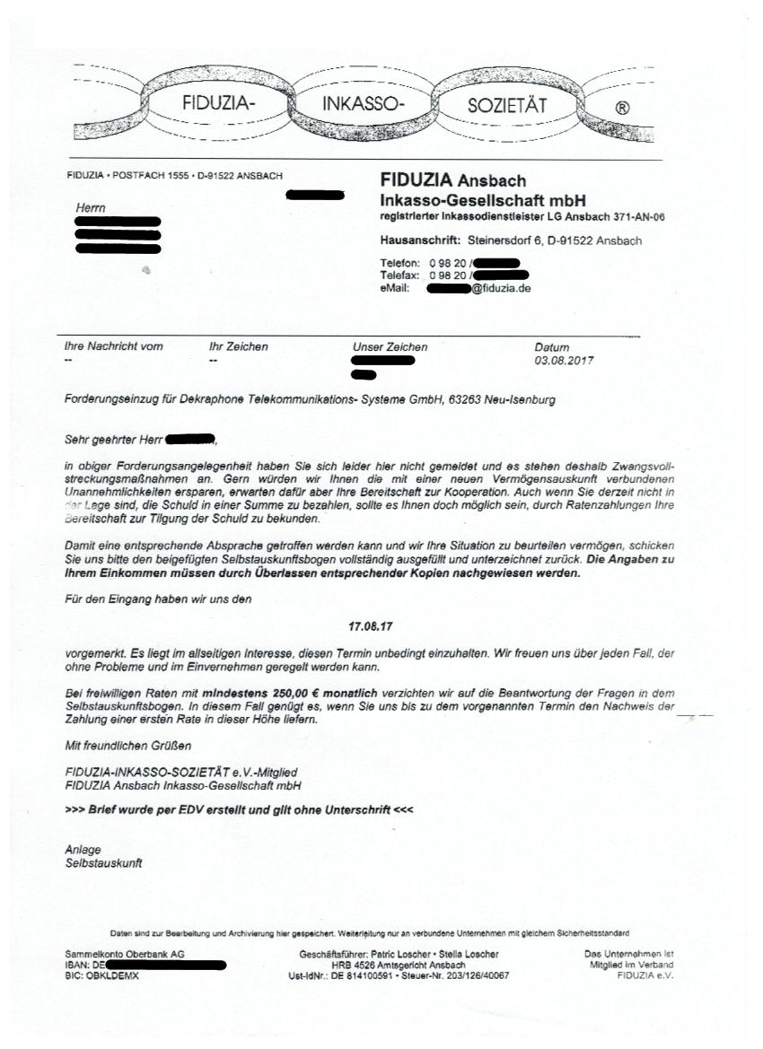 Fiduzia Ansbach Inkasso Gesellschaft Mbh Forderung Erhalten