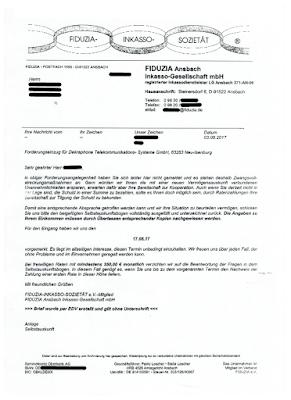 Schreiben der Fiduzia Ansbach Inkasso Gesellschaft mbH | 03.08.2017