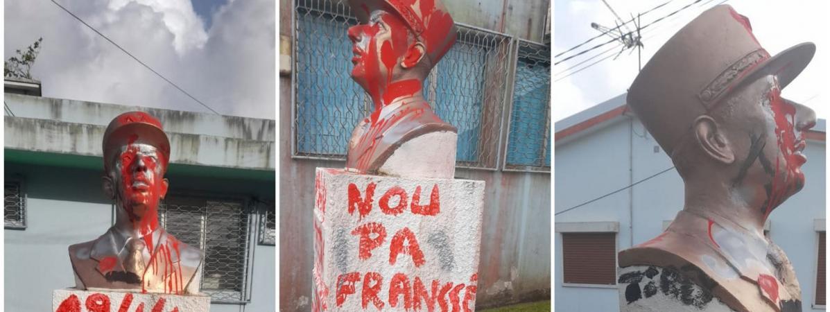 Photos : Un buste du général de Gaulle vandalisé en Martinique