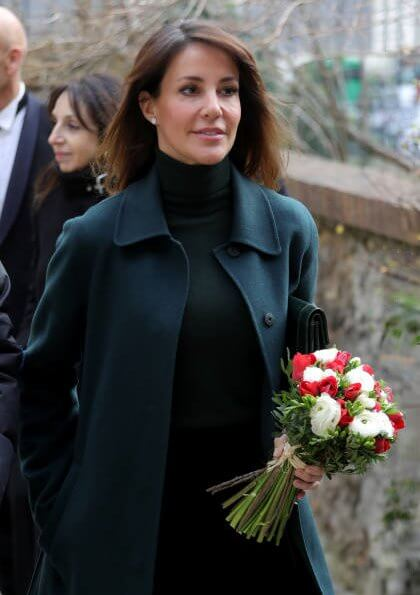 Princess Marie wore Hugo Boss Relaxed-fit coat, and Jimmy Choo grainy calf leather knee high boots, she carries YSL Saint Laurent clutch