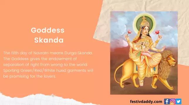 Goddess Skanda Navratri Fifth Day Colors
