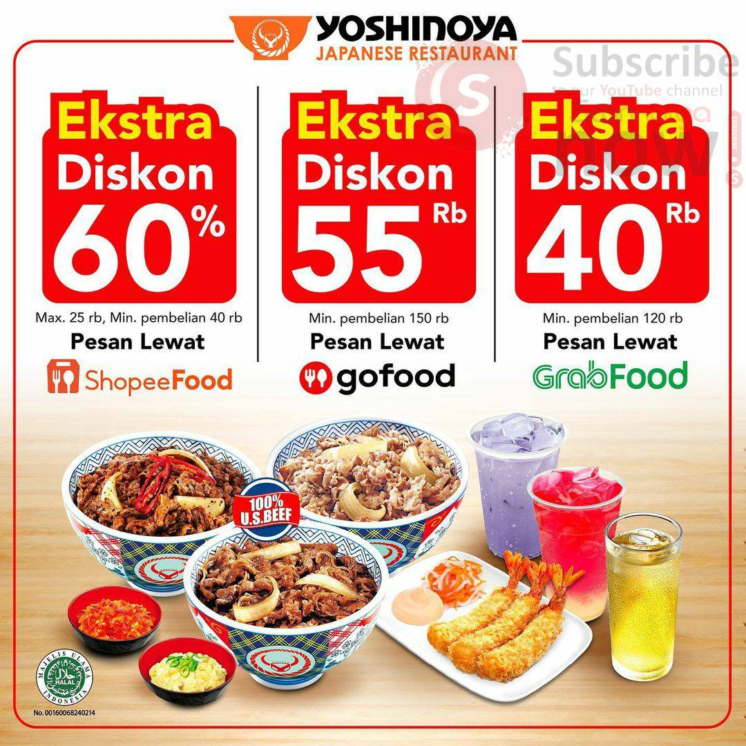 YOSHINOYA Promo Extra DISKON via (ShopeeFood, Grabfood & Gofood)