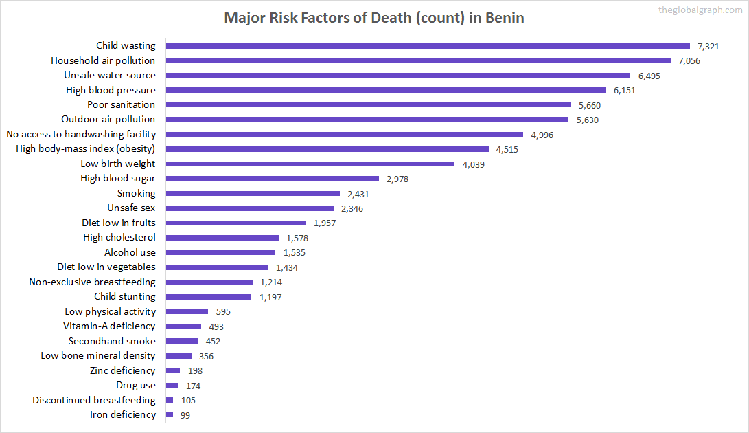 Major Cause of Deaths in Benin (and it's count)