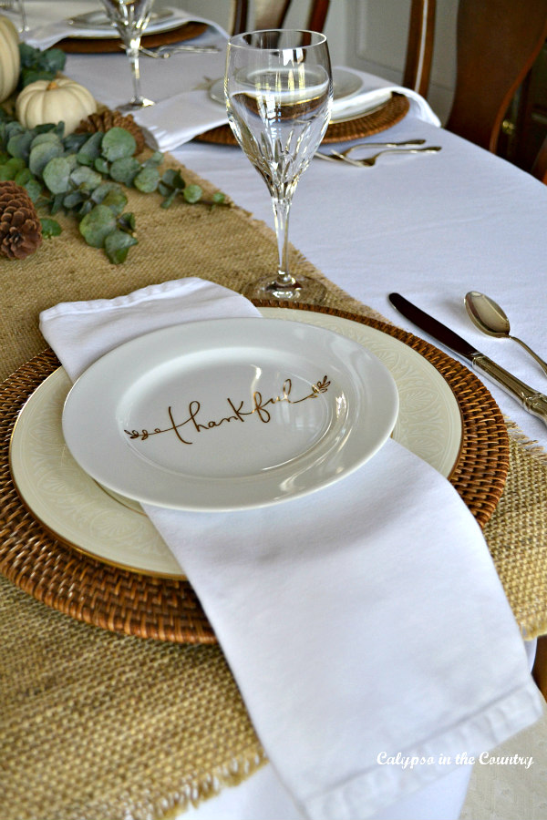 Thankful plate on fall place setting