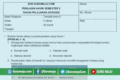 Soal PAT / UKK Kelas 5 Tema 8 Kurikulum 2013 Semester 2