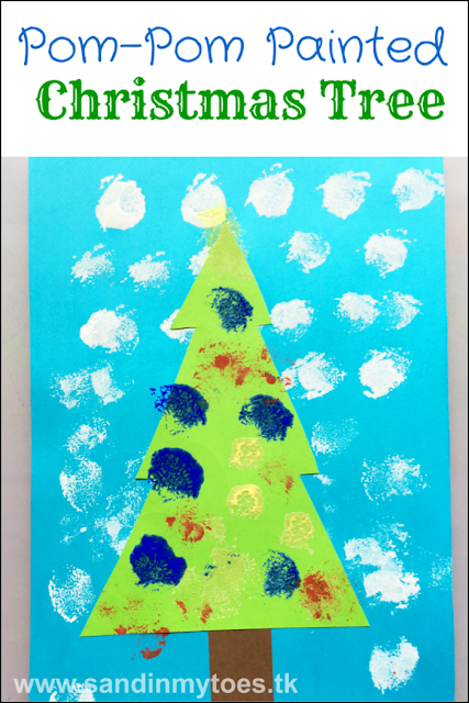 A fun art and craft project for little kids - pom pom painted Christmas tree!