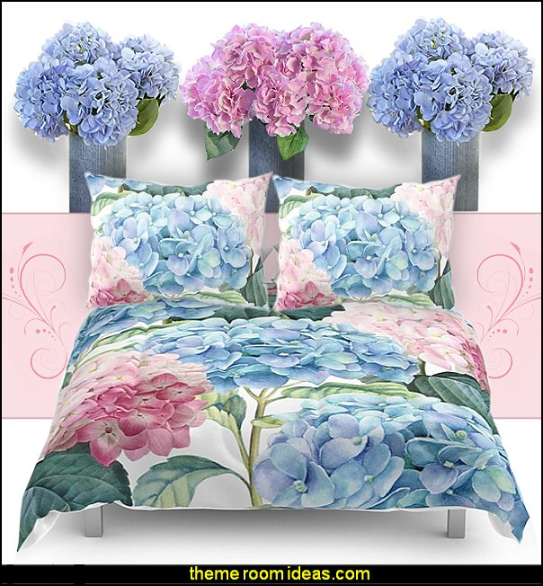Pink Blue Hydrangea bedding  floral bedding - flowers pillows - floral duvet covers - Floral Bedding Sets - flower theme bedding - Floral Print Bedding - floral comforters - floral pillows