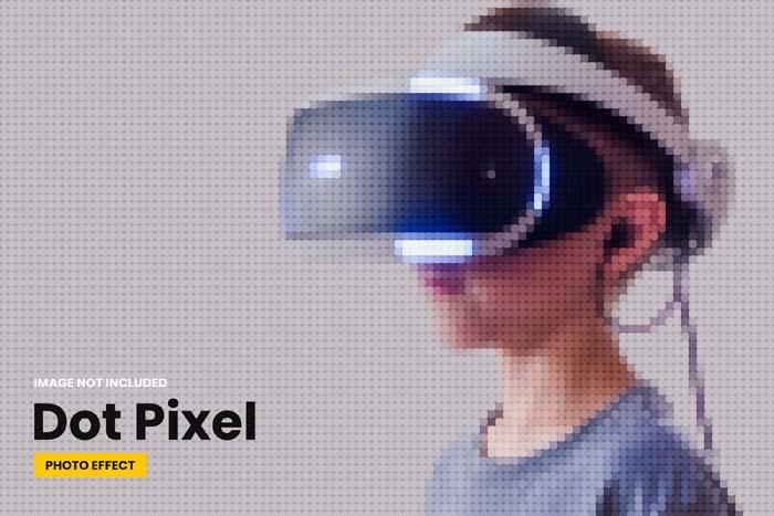Dot Pixel Photo Effect PSD Template