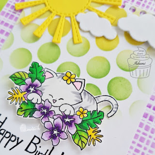 Scene card with Aloha stamp set by Newton's Nook designs,Birthday card,Copic markers,Stamplorations,die cutting, Quillish,
