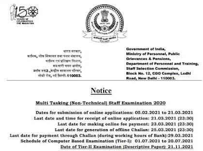 SSC Multi Tasking Non-Technical Staff Exam 2020