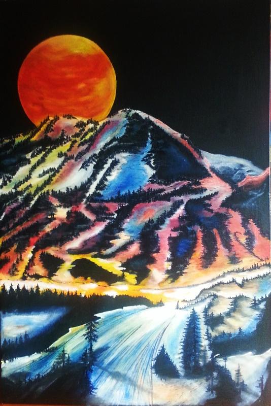 zachód słońca w górach farbami olejnymi