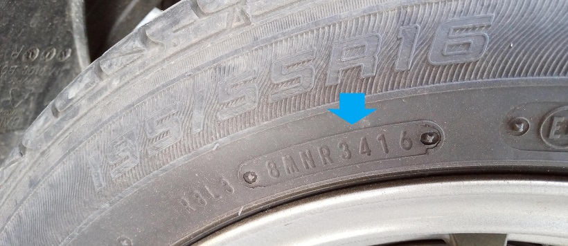 Tire manufacturing date on tire sidewall