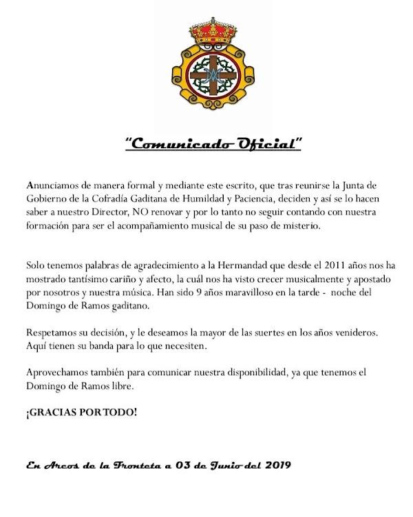 Humildad y Paciencia de Cádiz no renovará a CCTT Tres Caídas de Arcos