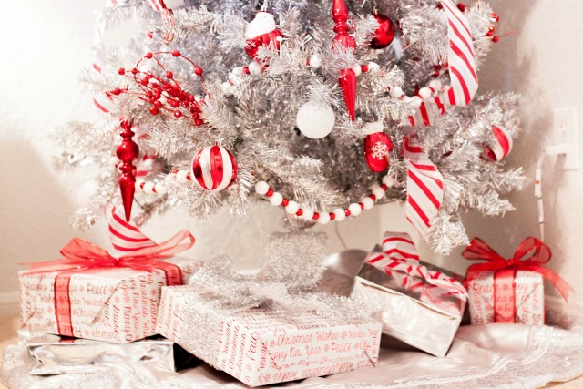 candy cane christmas, candy cane tree, silver christmas tree, silver tree, peppermint themed christmas, candy cane decorations, candy cane themed christmas tree, tinsel tree, at home stores, home decor blog, home decor blogger, austin blogger, red and white christmas tree, christmas tree, fun christmas tree, holiday decor, holiday decorations