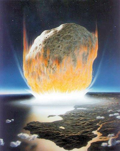 Recreación artística del asteroide impactando en la Tierra.