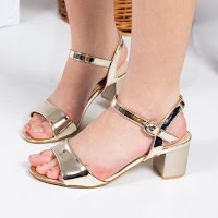 Sandale Stephanie aurii cu toc gros