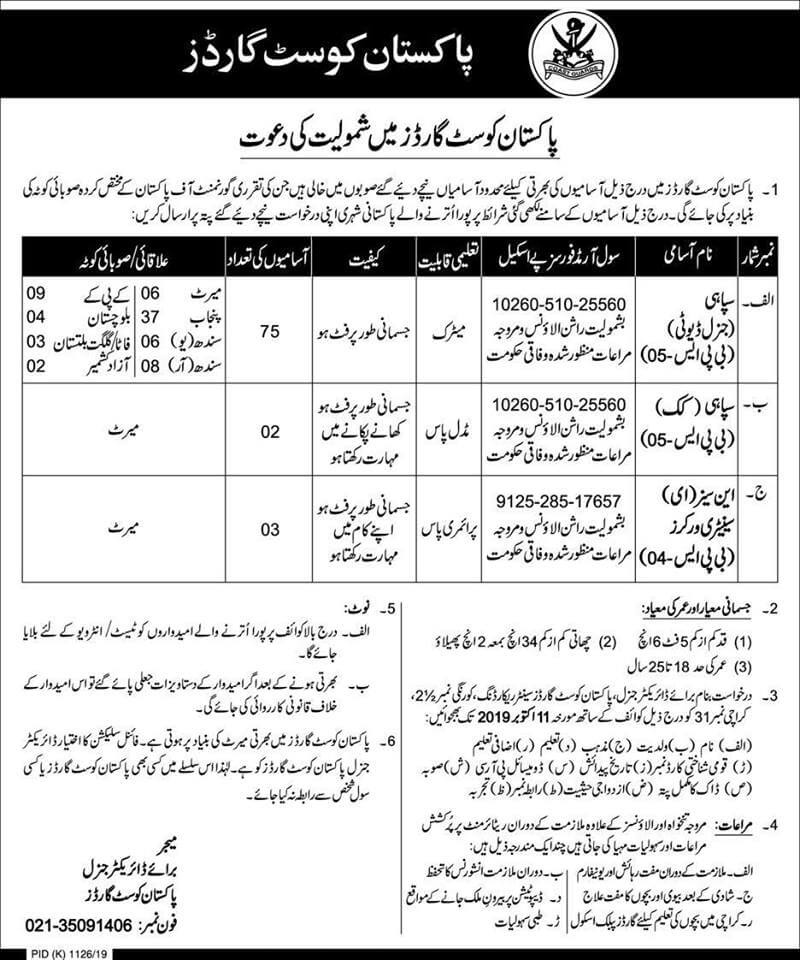 Jobs In Pakistan Coast Guards 2019