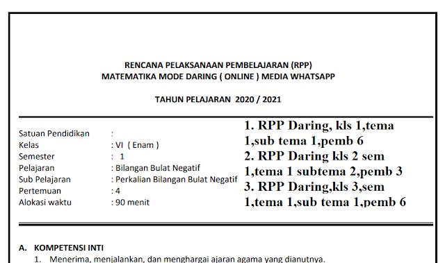 Download Rpp Matematika Kelas 1 6 Mode Daring Media Whatsapp Lengkap